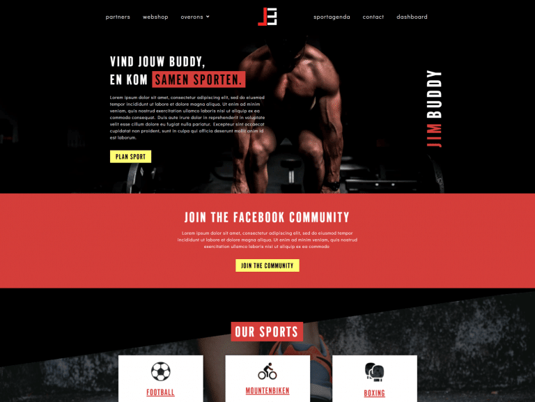 red yellow and black gym webdesign